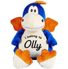 Personalised Soft Toy Animal Cubbie Dragon - Blue